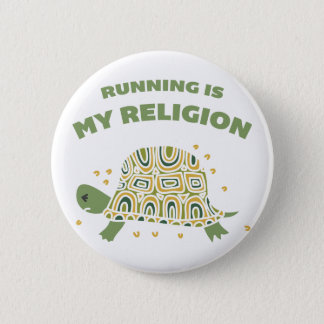 Running Turtle 2 Inch Round Button