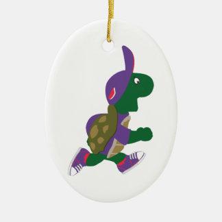 Running Turtle Ceramic Ornament