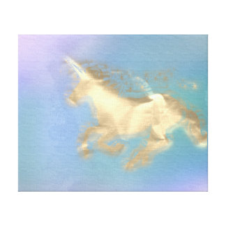 Running Unicorn Horse Gold Sepia Blue Amethyst Canvas Print