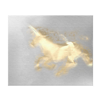 Running Unicorn Horse Gold Sepia Gray Magic 3D Canvas Print