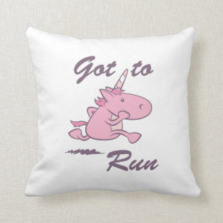 Running Unicorn Throw Pillow