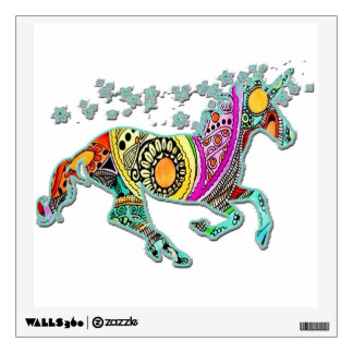 Running Unicorn with Stars Colorful Wall Decal