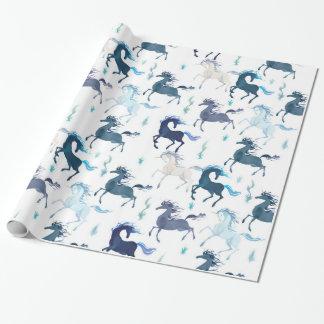 Running Unicorns glossy wrapping paper