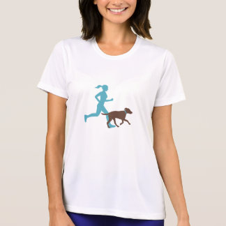 Running with dog (aqua/choc) T-Shirt
