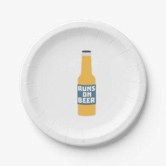 Runs on Beer Bottle Zcy3l 7 Inch Paper Plate