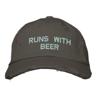 Runs with Beer! Drinking Hat for the party guy Embroidered Baseball Cap