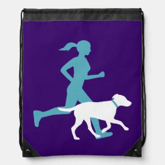 Runs with Dog- Teal/white/royal Drawstring Bag