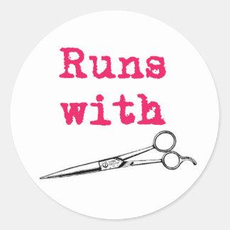 Runs With Shears Hair Stylist Sticker