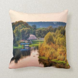 Rural Autumn Landscape Throw Pillow