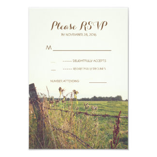 "Rural barbed wire fence wedding RSVP cards 3.5"" X 5"" Invitation Card"