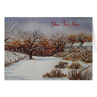rural cottages snow scene original seasonal art card