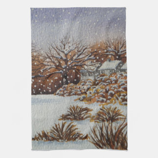 rural cottages snow scene seasonal art design kitchen towel