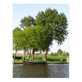 Rural Dutch Scene Rowboat in Canal Postcard
