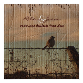 Rural Farm fence bird western barn wedding Card