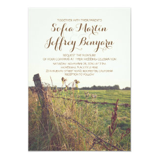 rural fence country rustic wedding invitation