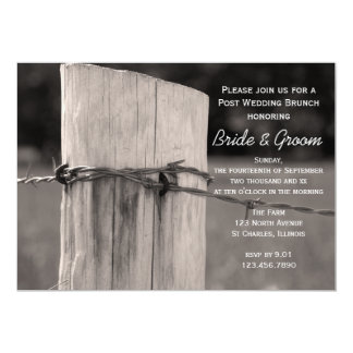 """Rural Fence Post Country After Wedding Brunch 5"""" X 7"""" Invitation Card"""