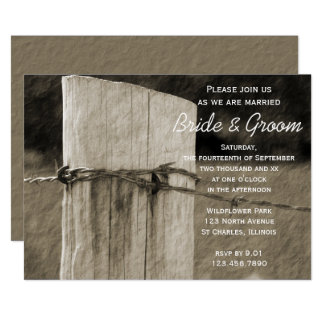 Rural Fence Post Country Farm Wedding Invitation