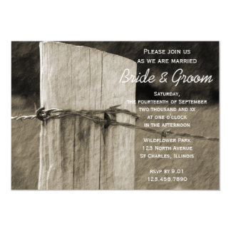 Rural Fence Post Country Farm Wedding Invitation