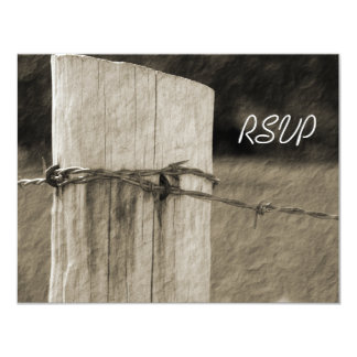 "Rural Fence Post Country Farm Wedding RSVP Card 4.25"" X 5.5"" Invitation Card"