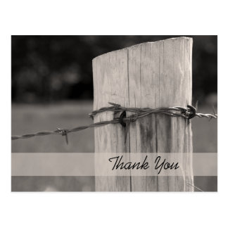 Rural Fence Post Country Ranch Thank You Postcard