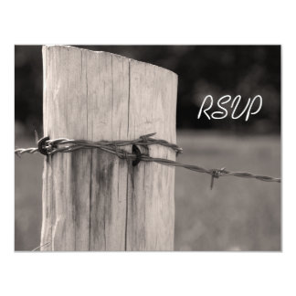 """Rural Fence Post Country Wedding Response Card 4.25"""" X 5.5"""" Invitation Card"""