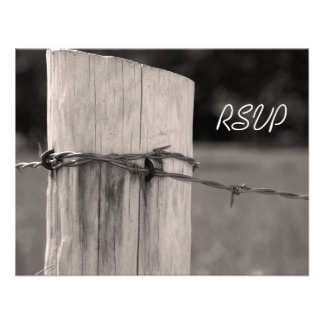 Rural Fence Post Country Wedding Response Card Invites