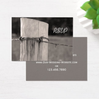 Rural Fence Post Country Wedding RSVP Card