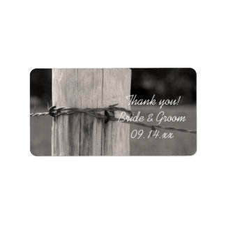 Rural Fence Post Country Wedding Thank You Label