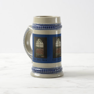 Rural landscape view from church window painting beer stein