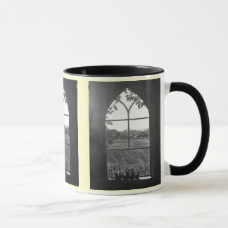 Rural landscape view from church window painting mug