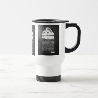 Rural landscape view from church window painting travel mug