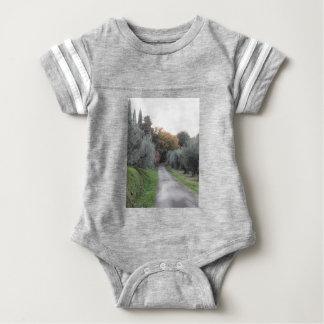 Rural landscape with asphalt road in the autumn baby bodysuit
