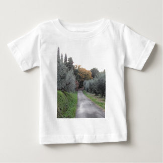 Rural landscape with asphalt road in the autumn baby T-Shirt