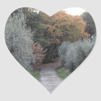 Rural landscape with asphalt road in the autumn heart sticker