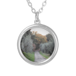 Rural landscape with asphalt road in the autumn silver plated necklace