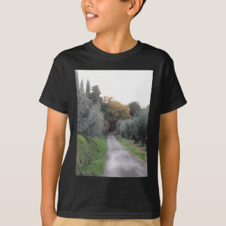 Rural landscape with asphalt road in the autumn T-Shirt