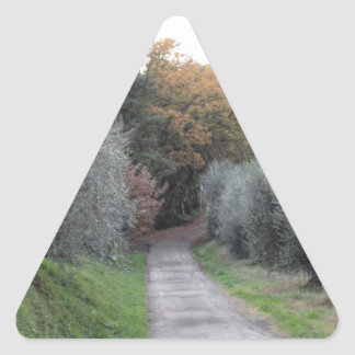 Rural landscape with asphalt road in the autumn triangle sticker