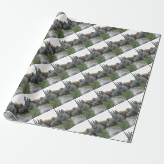 Rural landscape with asphalt road in the autumn wrapping paper