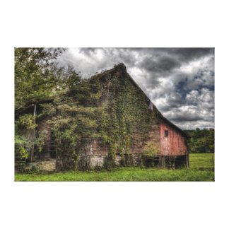 Rural Old Vine-Covered Red Barn Heavy Clouds Canvas Print
