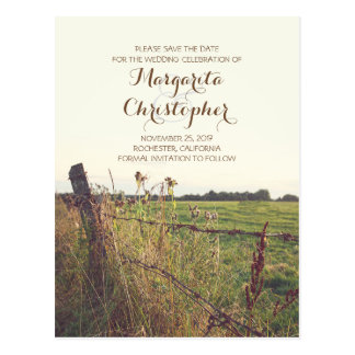 rural pasture fence rustic save the date postcards