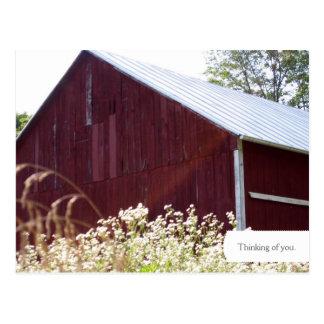 Rural Red Barn Farm Postcard