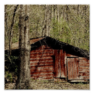 Rural Red Barn Poster