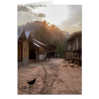 Rural Riverside Village on Mekong River, Laos Card