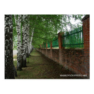"""Rural Russia Postcards. """"Old School Fence"""" Postcard"""