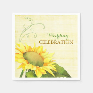 Rural Watercolor Sunflower, Swirls Wedding Napkins