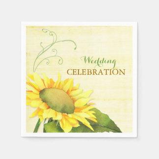 Rural Watercolor Sunflower, Swirls Wedding Napkins Paper Napkins