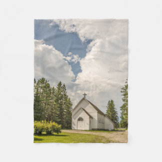 Rural White Church with a Cross and Amazing Clouds Fleece Blanket