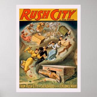 Rush City Vintage Poster
