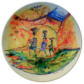 Rush Hour 1-decorative plate. Porcelain Plate