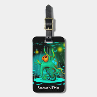RUSS ALIEN CARTOON Luggage Tag w/ leather strap